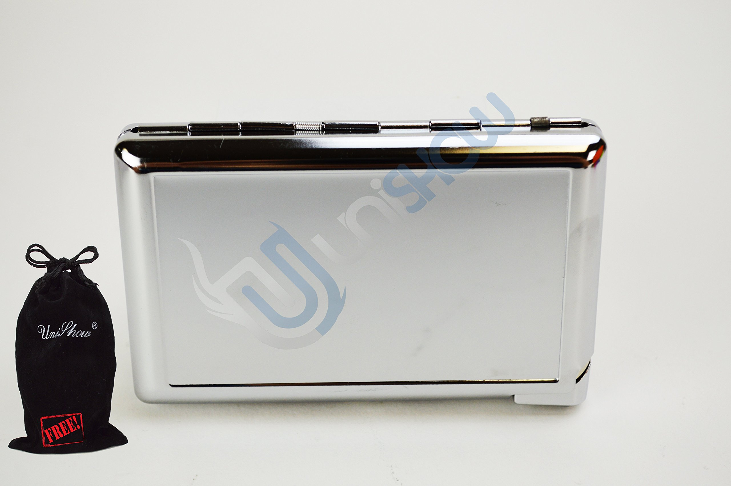 Unishow 4.25'' Stainless Steel Cigarette Case W/ Built-in Lighter W/ a FREE Velvet Unishow Pouch