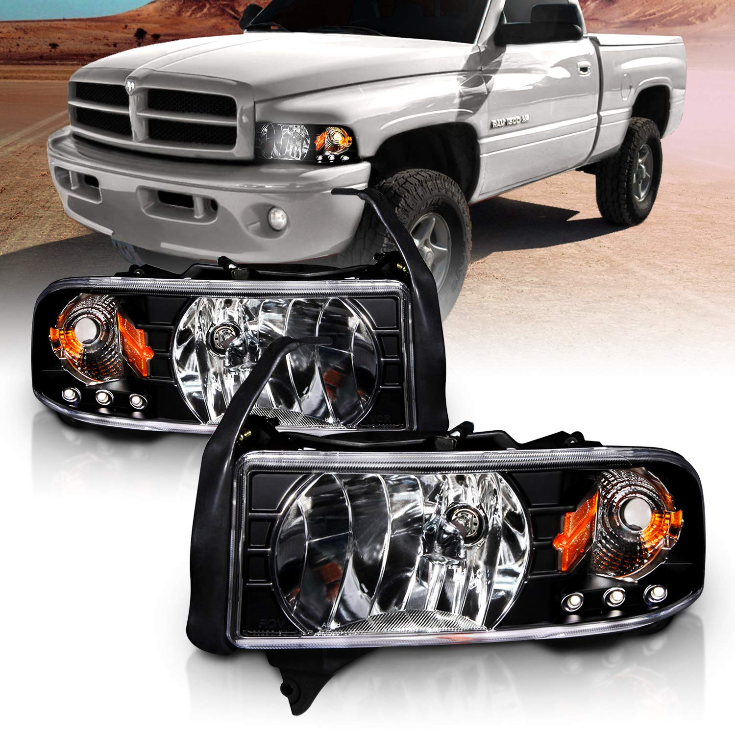 AmeriLite Black 1pc Replacement Headlights w/Corner LED Parking Lamp Assembly Set for 1994-2001 Dodge Ram 1500 2500 3500…