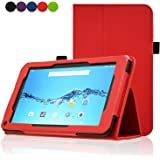 """Digiland 7 inch Tablet Case, ACdream Folio Premium PU Leather Tablet Case for Digiland 7"""" Tablet 8GB Model DL718M / DL721-RB 7-Inch Android Tablet, Red"""
