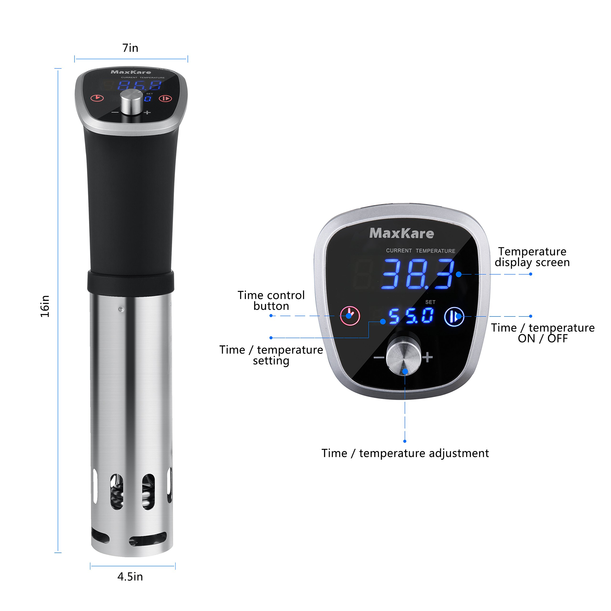 MaxKare Sous Vide Precision Cooker with Immersion Circulator, Double Digital Display Screens, Stainless Steel, Precise Temperature/Time Control for Quality Food at Home. Easy to Clean. by MaxKare (Image #8)