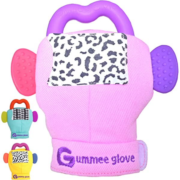 Gummee Glove Baby Teething Mitten Silicone Heart Teether Ring Toy 3-6 Months