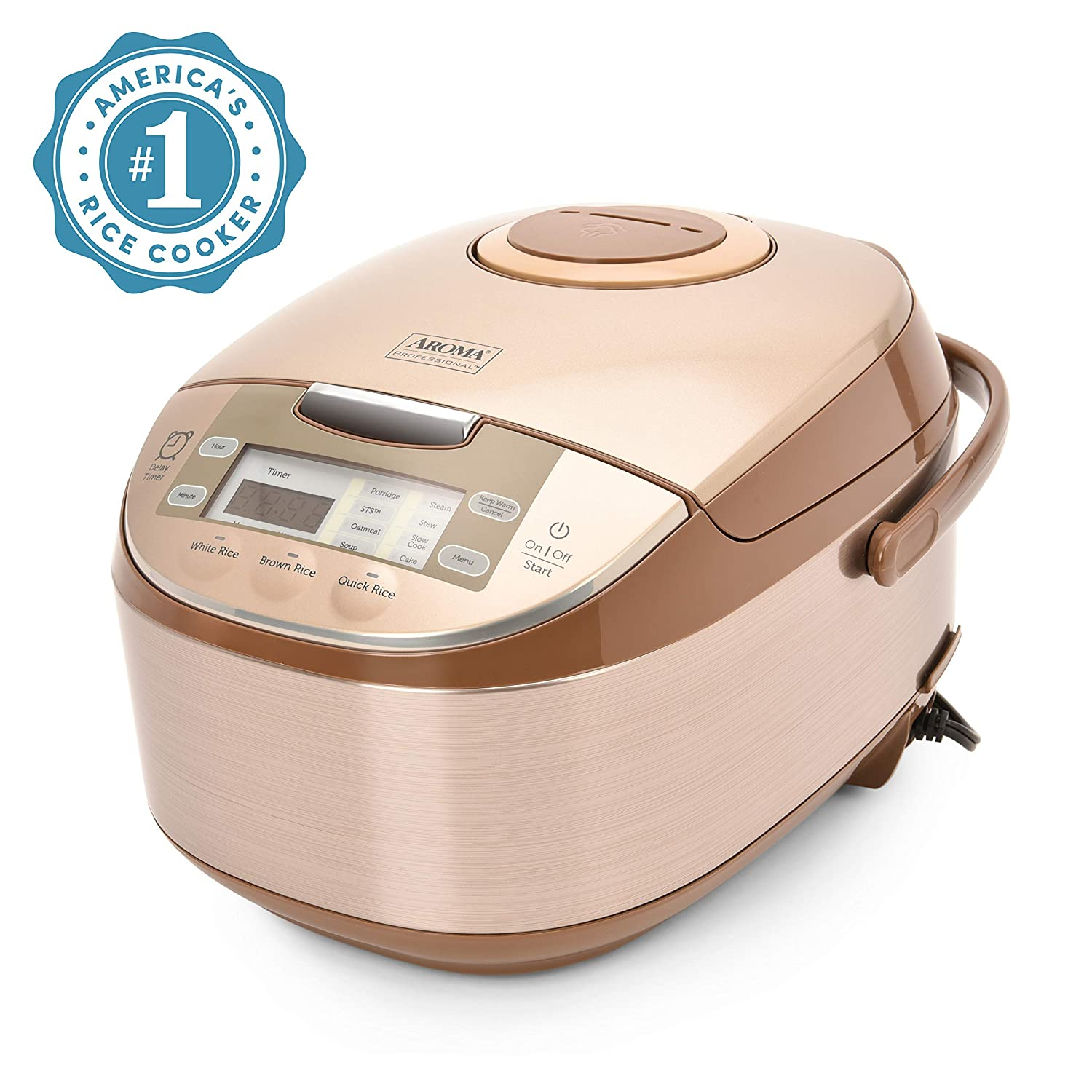 Aroma Housewares ARC-6106 Aroma Professional 6 Cups Uncooked Rice, Slow Cooker, Food Steamer, MultiCooker, Champagne