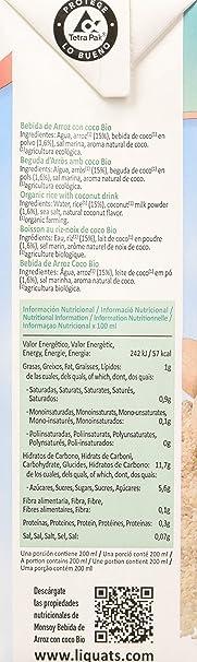 Monsoy - Bebida Ecológica de Arroz con Coco, 4 x 1L: Amazon.es ...