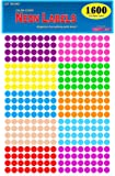 Pack of 1600 3/8 Inch Round Neon Color Coding Dot Map Label Stickers, 10 Different Colors, 0.375 in., 10mm