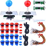 For Raspberry Pi 3 2 model B Retropie, Longruner LED Arcade DIY Parts 2x Zero Delay USB Encoder + 2 x 8 Way Joystick + 20x LED Illuminated Push Buttons for Mame Jamma Arcade Project Red + Blue Kits