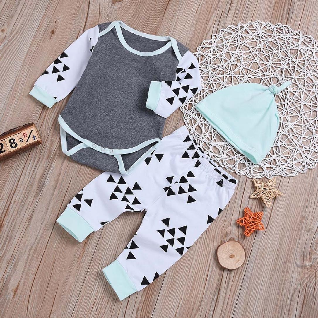 kaiCran Newborn Baby Boys Girls Long Sleeves Autumn Clothes Sets Print Romper+Pants+Headband Outfits