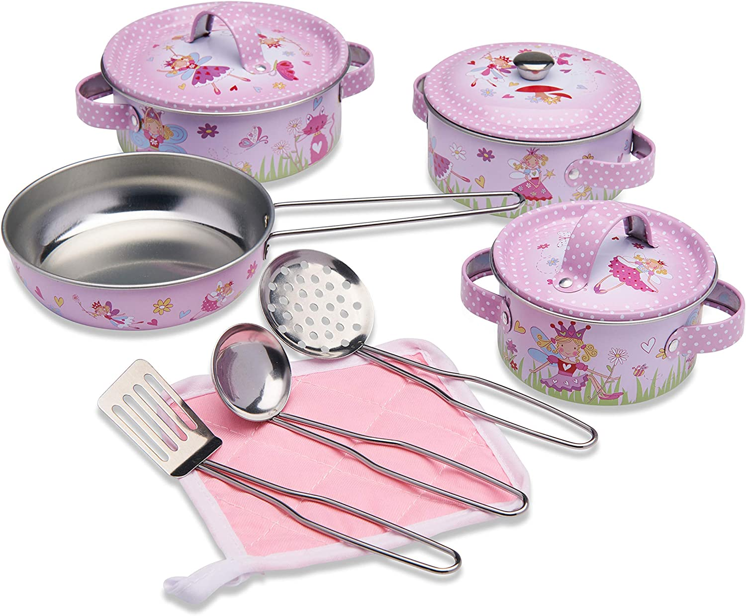 Wobbly Jelly - 'Fairy Tale' Kids Kitchen Set - 11 pc Toy Pots and Pans Set for Kids - Toy Kitchen Accessories