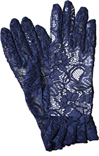 Dents Ladies Sheer Lace Dress/Wedding Gloves with Ruffle Cuff (Navy, Black,