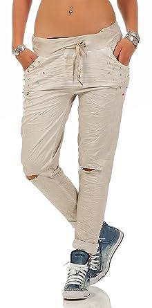 Mississhop 209 Damen Hose leichte Freizeithose Stoffhose Elegante  sportliche Damenhose mit Perlen und Rissen Tunnelzug feinen 6915082356