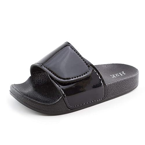 73c23b1af H2K Girls Hook and Loop Adjustable Fastener Slide Sandals (Black