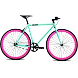 Golden Cycles Single Speed Fixed Gear Bike with Front & Rear Brakes(Betty 52), Celestial/Pink