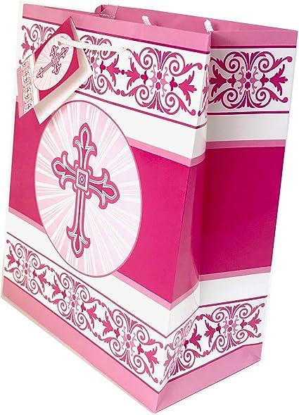 First 1st Sagrada Comunión bolsa de regalo envoltura de lujo rosa niñas religiosa etiqueta: Amazon.es: Oficina y papelería