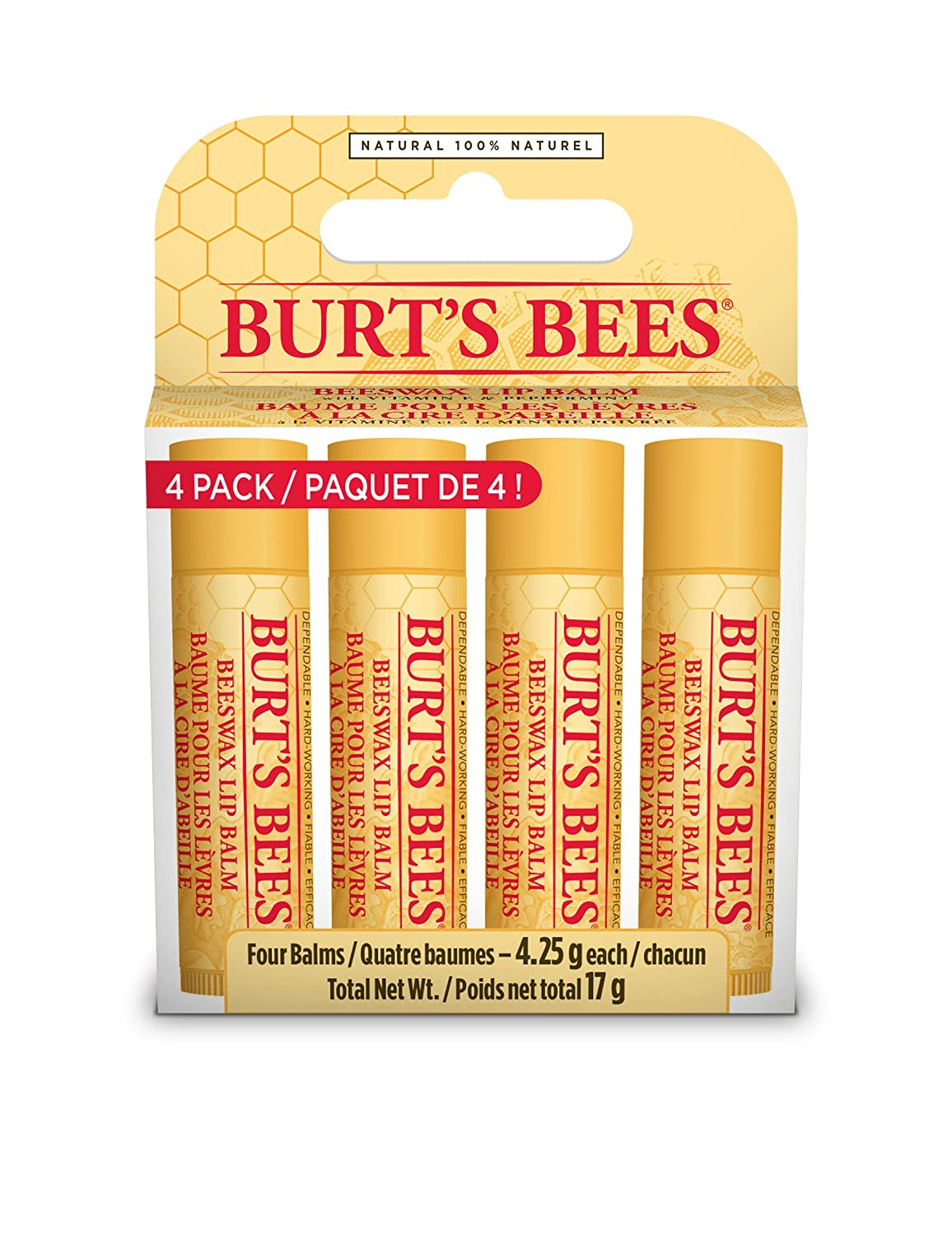 Burt's Bees Beeswax Bounty Assorted Fruit Lip Balm Holiday Gift Set, 4 Lip Balms - Wild Cherry, Pink Grapefruit, Coconut & Pear and Strawberry Clorox Canada 90178-04
