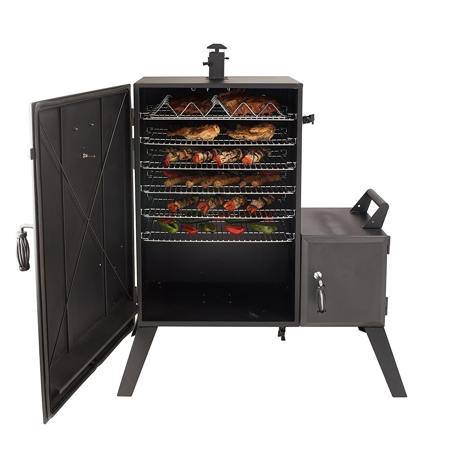 Dyna-Glo DGO1176BDC-D Vertical Offset Charcoal Smoker and Premium smoker cover