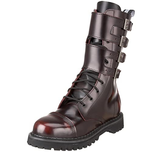 Pleaser Men's Attack Lace-Up Boot, Size: 4 UK,Color: Burgundy