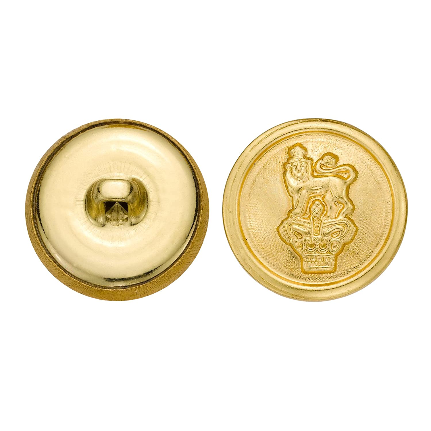 Gold Size 33 Ligne 36-Pack C/&C Metal Products 5277 Crowned Lion Metal Button