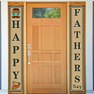 Happy Father's Day Banner,Fathers Day Welcome Porch Sign,Fathers Day Decor Outdoor Indoor,Fathers Day Decoration and Supplies for Party