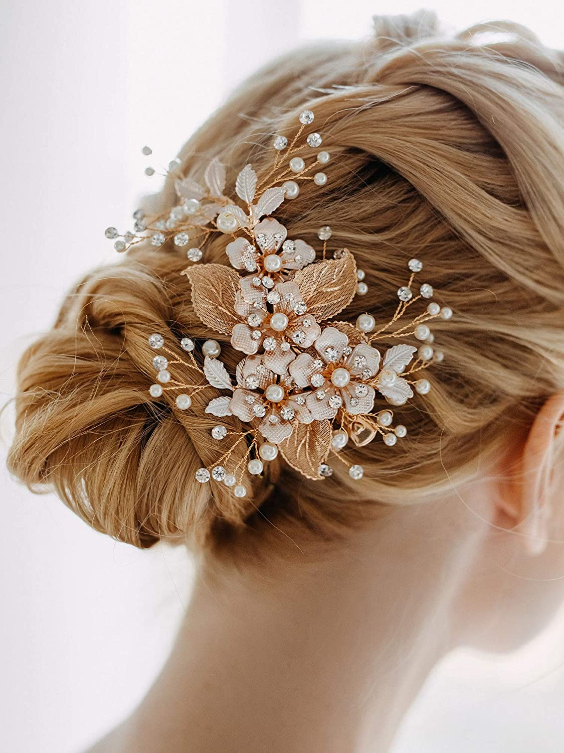 Hair Accessories Crystal Hair Combs for Women Flower Hair Slide Wedding Hair Jewelry Bride Head Piece Floral Hair Piece Jeweled Comb