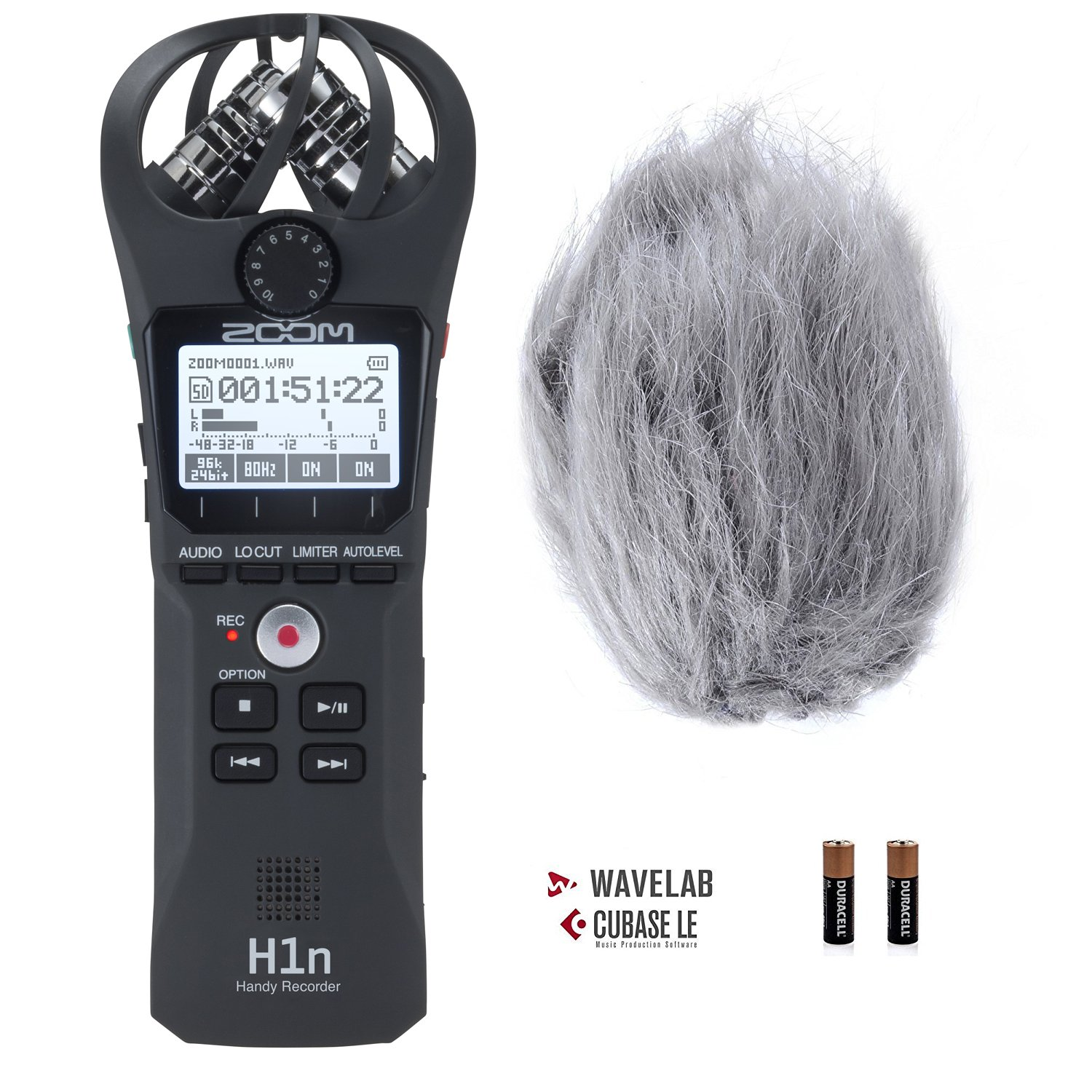 Zoom H1n Handy Portable Digital Recorder Bundle with Movo Deadcat Furry Outdoor Windshield Zoom H1n+WS1