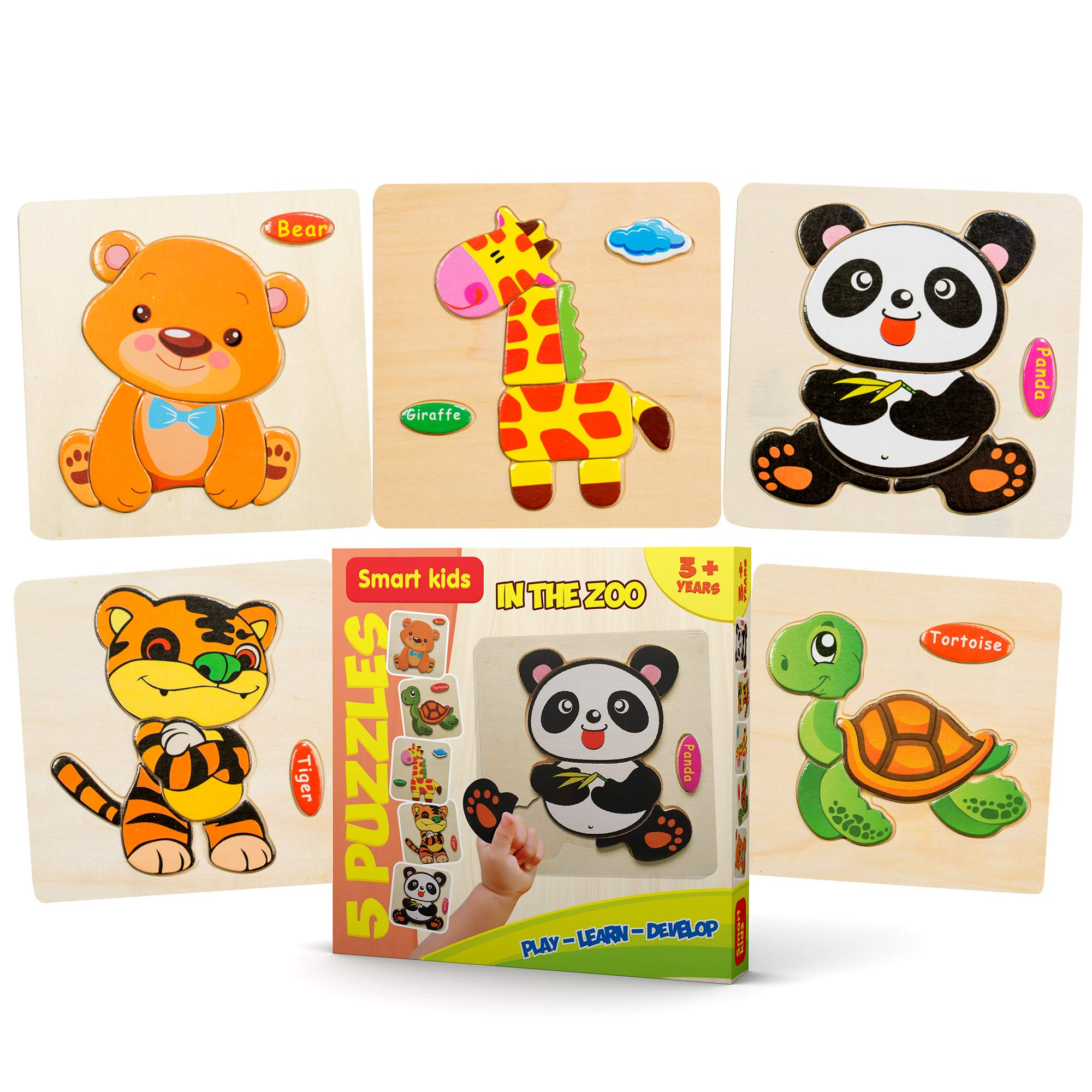Wooden Puzzles for Toddlers - New Set of 5 Kids Puzzles - Baby Puzzles Age 3+ Toddlers Puzzles for Boys and Girls - in The Zoo Set - Tiger - Panda - Bear - Giraffe - Tortoise - 2018 New 37 pcs.
