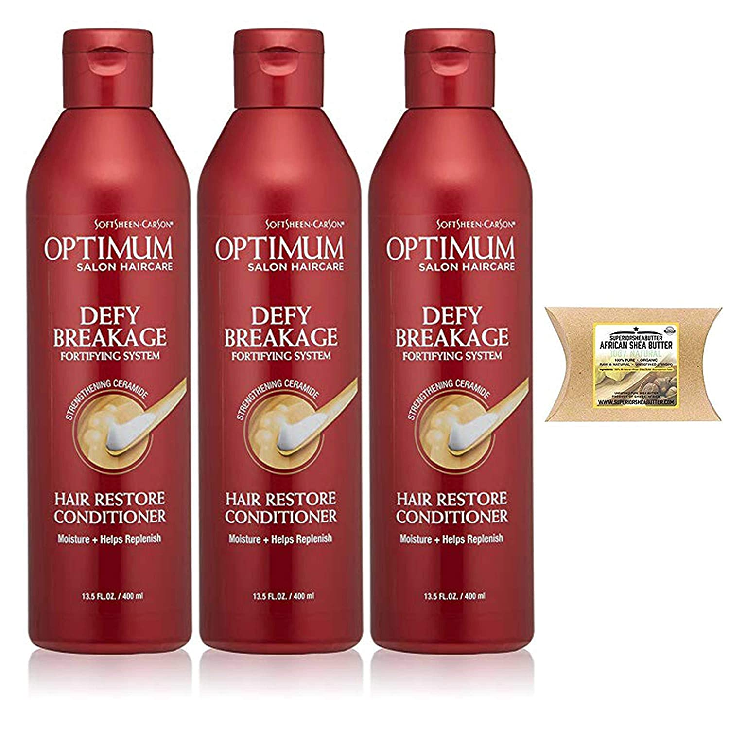 SoftSheen-Carson Optimum Salon Haircare Defy Breakage Fortifying Sys Hair Restore Conditioner, 13.5 floz (3PC-SheaButter)