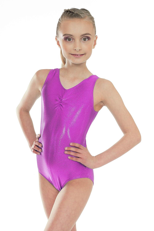 Shiny Metallic Sleeveless Dance Short Sleeved Gymnastic Leotard