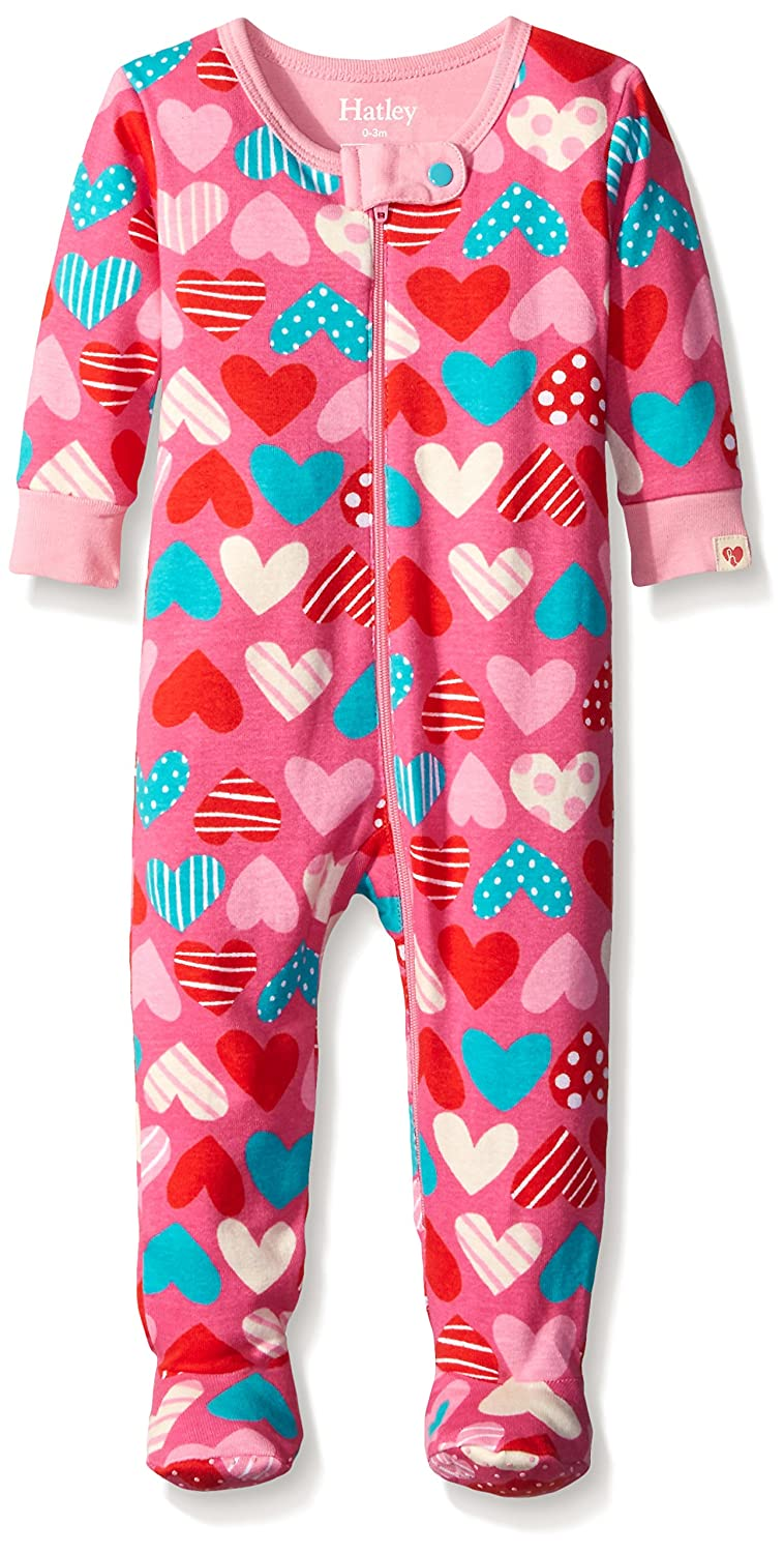Hatley Baby Girls 0-24m Infant Footed Coverall Crazy Hearts Footies Multicoloured (Pink) 0-3 Months DR5HART003