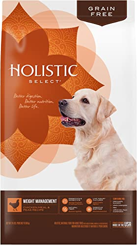 Holistic Select Natural Dry Dog Food Grain Free Weight Management Chicken Meal Peas