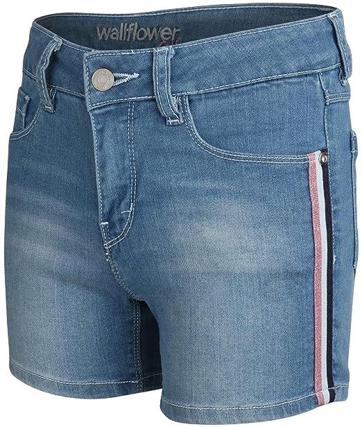 c97e6c242a 'WallFlower Girls Soft Strech Denim Shorts (Light Wash W/Taping, 7)
