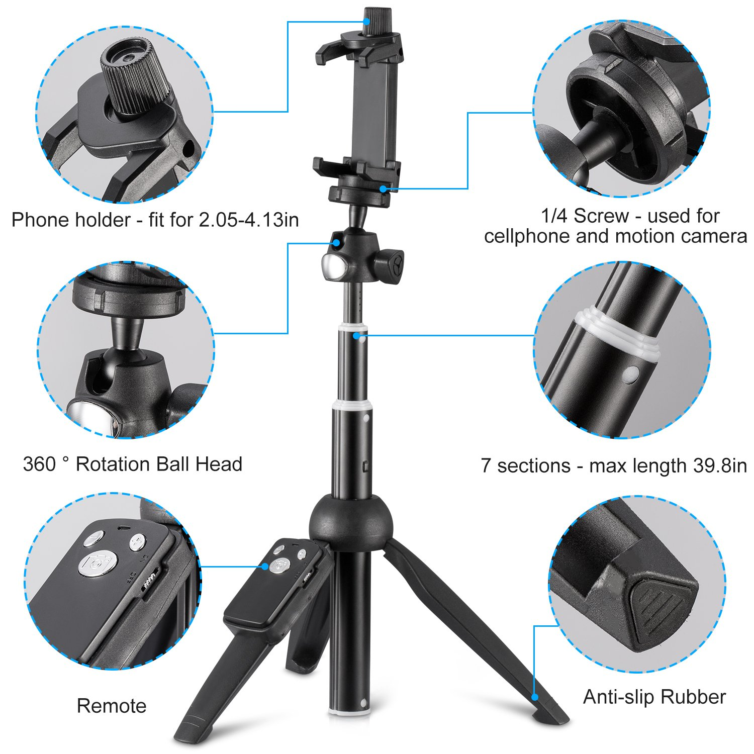 Eocean 40-inch Selfie Stick Tripod Extendable Selfie Stick Tripod Stand with Wireless Remote Compatible with iPhone Xs//Xr//Xs Max//X//8//8 Plus//Samsung Galaxy Note 9//S9//Huawei//Honor//Google and More