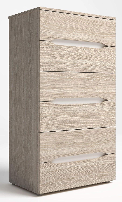 Miroytengo Cómoda cajonera Dormitorio Tur 6 cajones sifonier Color Blanco y Sable 62x40x113 cm
