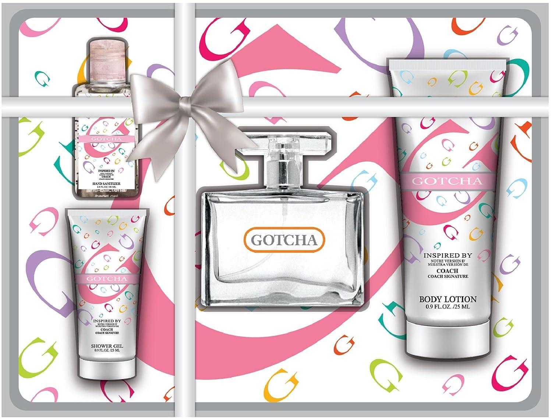 Gotcha Womens 4 Piece Gift Set Includes 1 Oz Body Lotion, 2.7 Oz EAU Parfume, 1 Oz Hand Lotion,...