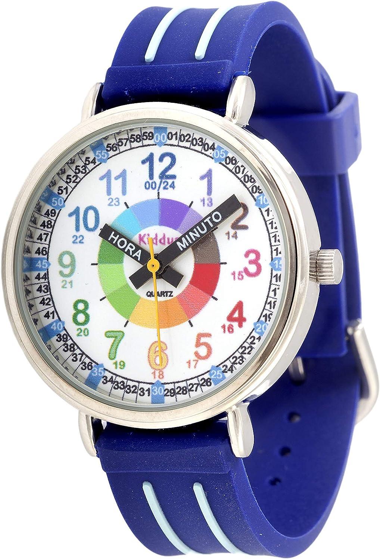 KIDDUS Reloj Educativo para niño, Chica, Chico. De Pulsera, analógico. Time Teacher fácil de Leer para Aprender la Hora. Ejercicios incluídos. Mecanismo de Cuarzo japonés