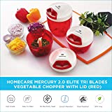 HomeCare Mercury Kitchen Master Elite 2.0 Stainless Steel 3 Blade Vegetable Chopper With Whipping Blade Convenient Pull Cord Mechanism Attached Lid - BPA free Plastic Container 650 ML (Red)