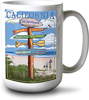 product image for Lantern Press Oceanside, California - Destinations Sign (15oz White Ceramic Mug)