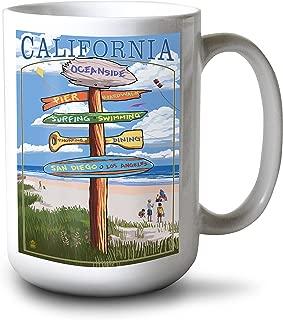 product image for Lantern Press Oceanside, California - Destinations Sign (15oz White Ceramic Mug)