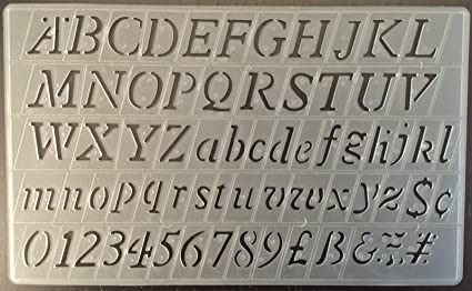 Cox 20 mm Italic lettering stencils template upper & lower case alphabet  numbers Stencils P-1597
