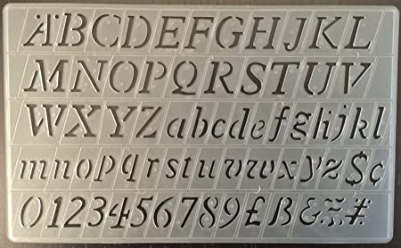 Template For Alphabet Stencils | Cox 20 Mm Italic Lettering Stencils Template Upper Lower Case