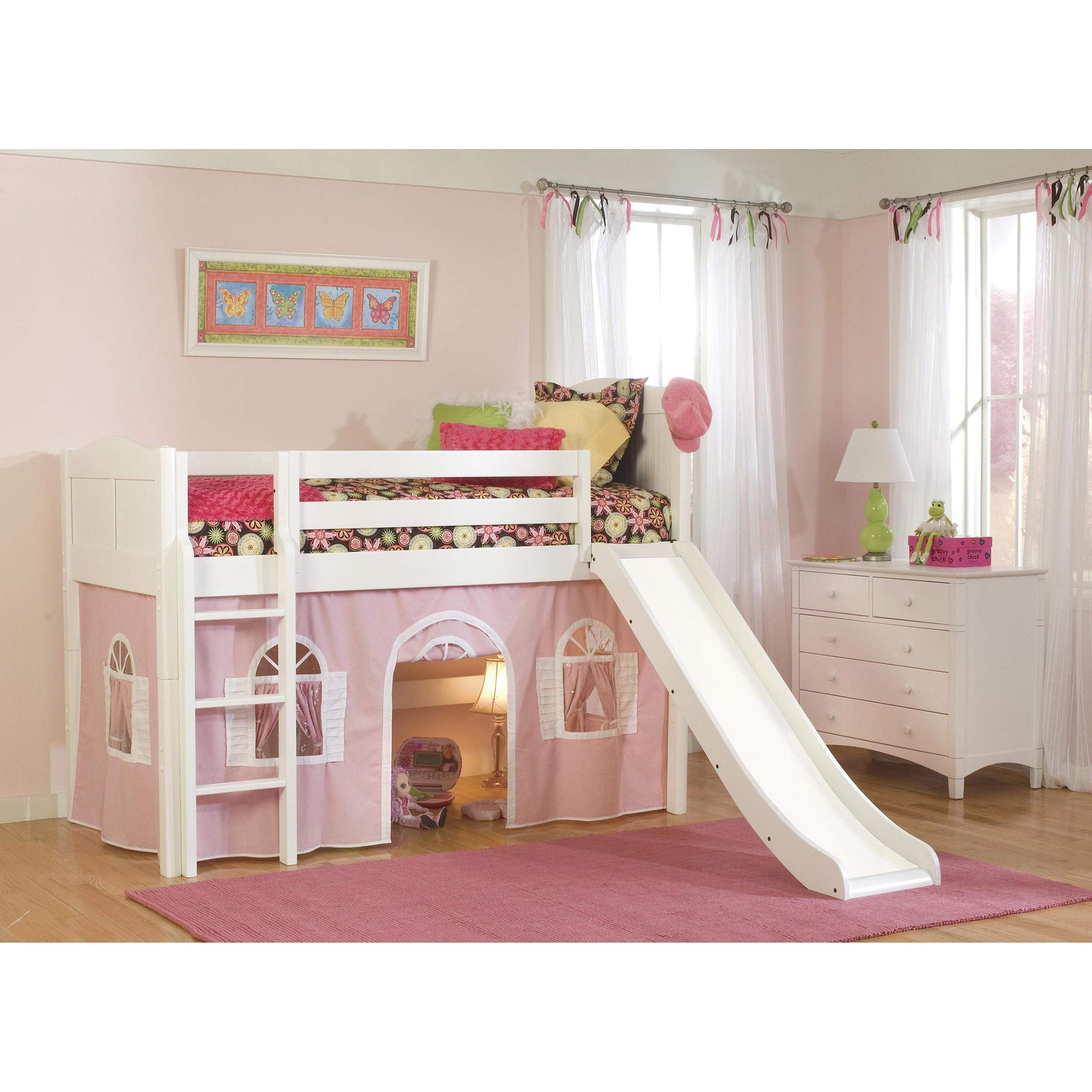 Bolton Furniture White Low-Loft Twin Playhouse Bed with Slide and Ladder by Bolton Furniture