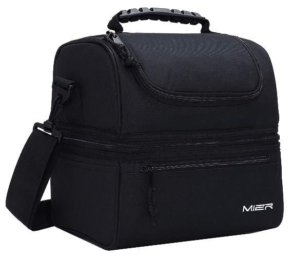 MIER Caja de almuerzo aislada Gran aislados Cool Tote Bag Kit de almuerzo para hombres, mujeres, refrigerador doble de la cubierta (negro): Amazon.es: Hogar