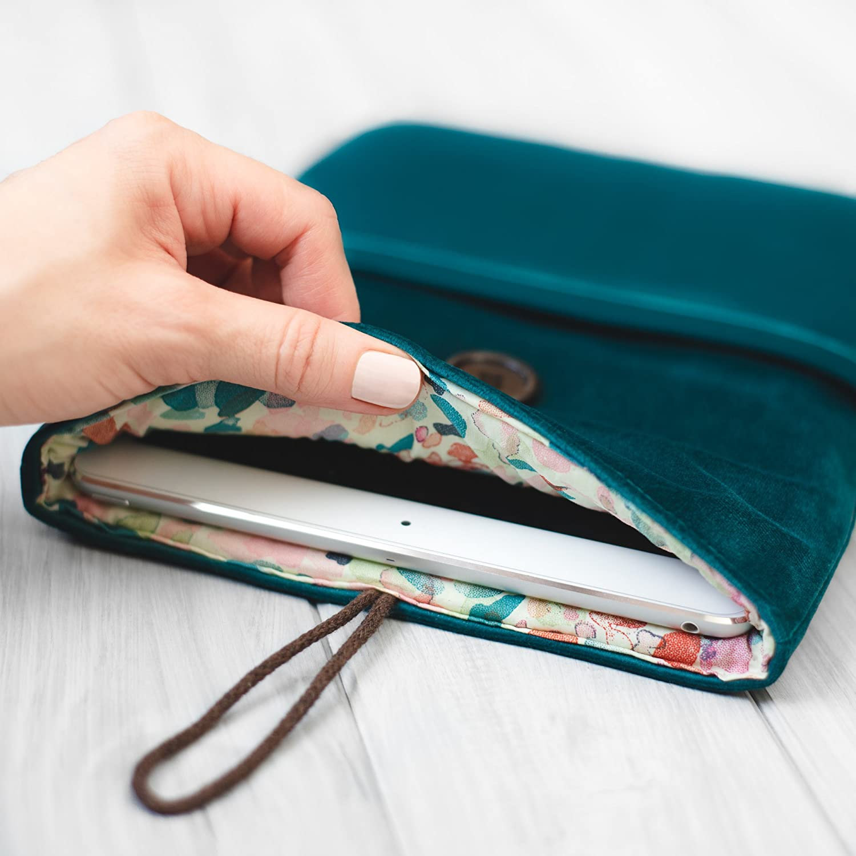 étui/housse/sleeve/pochette pour tablette iPad Pro Air Mini 9.7 10, 5 12.9 tissu velours turquoise