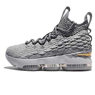 fc5a709ed0b48 Nike Youth Lebron 15 Boys Basketball Shoes Wolf Grey Cool Grey Metallic  Gold 922811