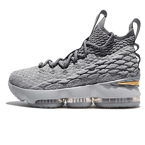 33058ed046a76 Amazon.com  Nike Youth Lebron 15 Boys Basketball Shoes Wolf Grey Cool  Grey Metallic Gold 922811-005 Size 6  Shoes