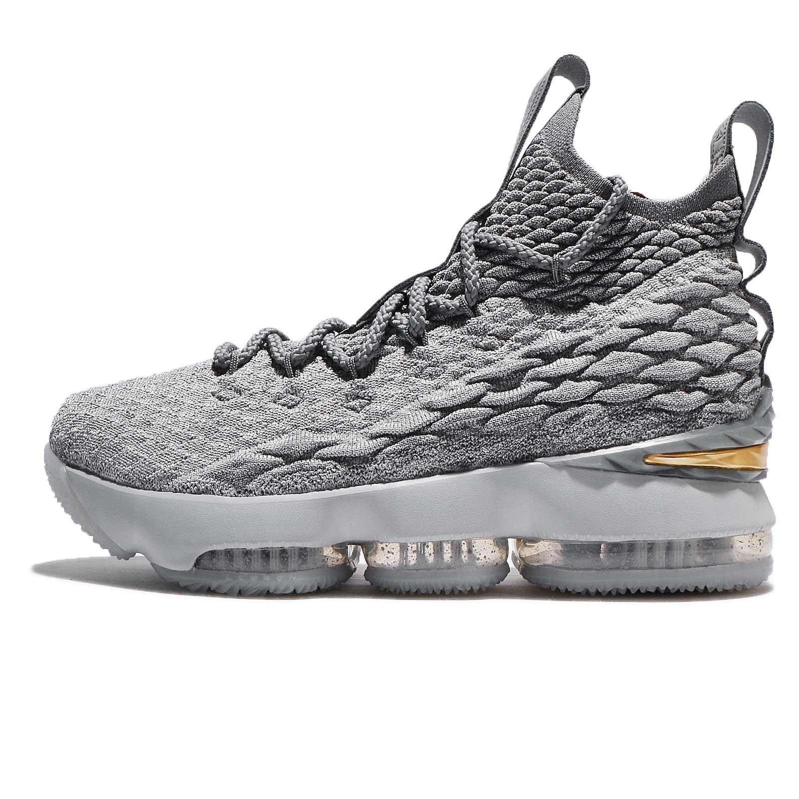 NIKE Youth Lebron 15 Boys Basketball Shoes Wolf Grey/Cool Grey/Metallic Gold 922811-005 Size 7