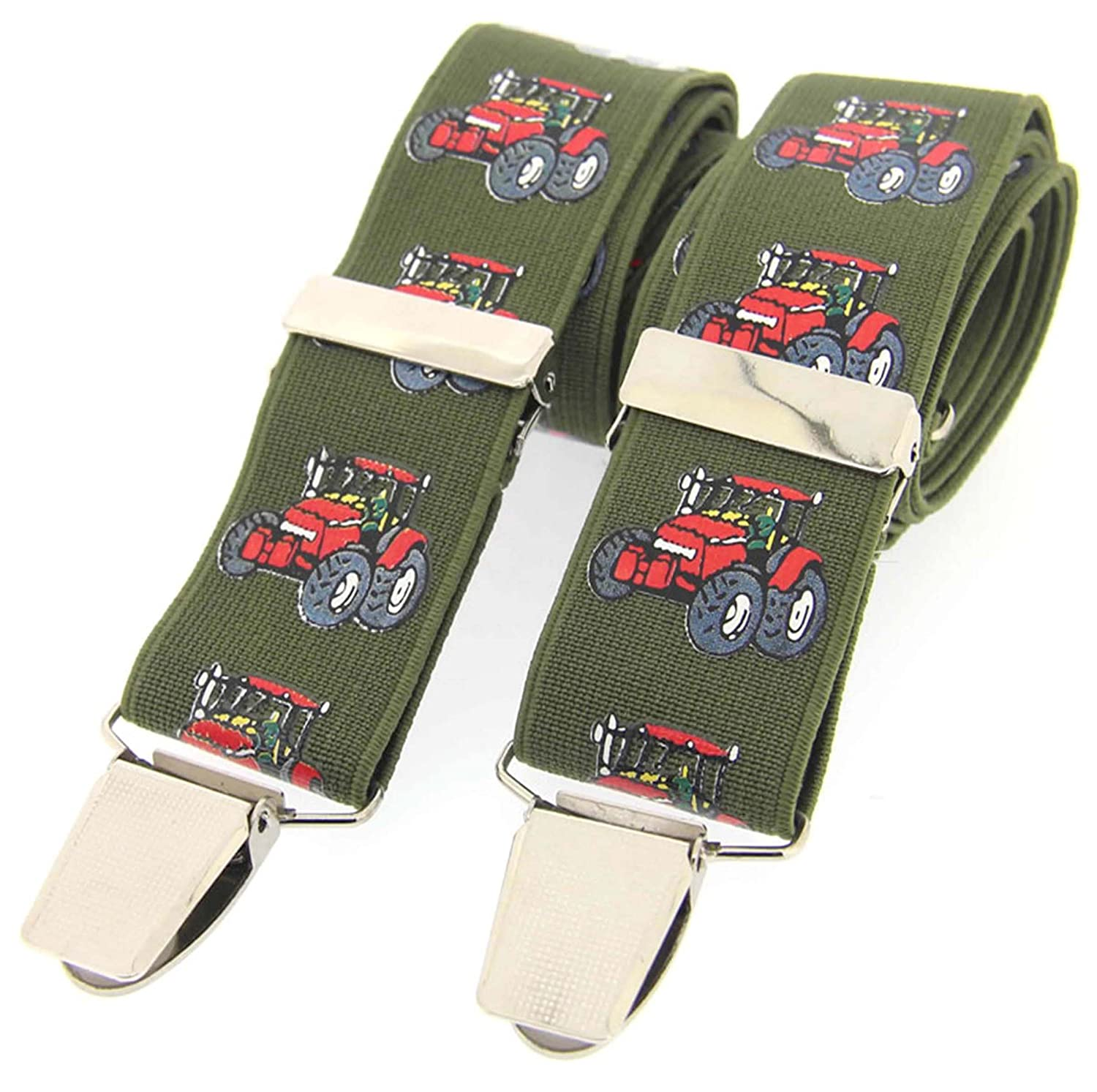 Soprano Country Green Tractor Mens Trouser Braces Brace Tractor Green