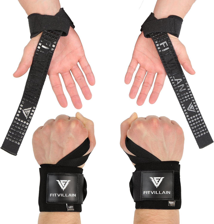 Kraft und Kreuz Training f/ür M/änner und Frauen Handgelenk unterst/ützt f/ür Gewicht Training / Profi Qualit/ät FITVILLAIN Wrist Wraps Gewichtheben Crossfit Powerlifting/