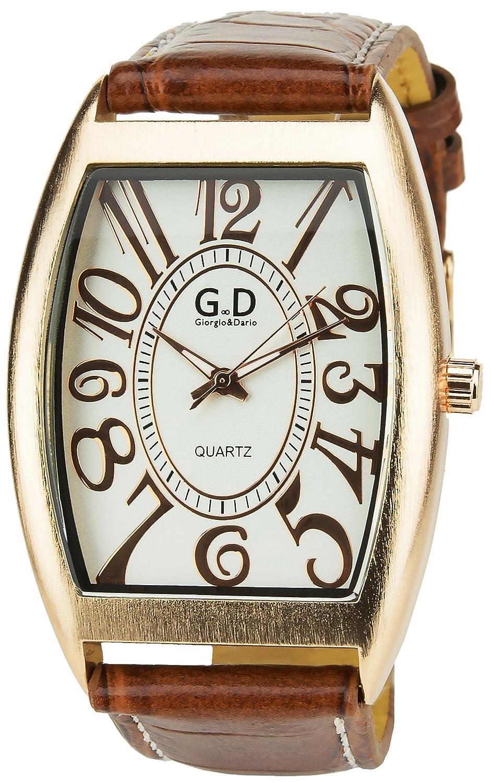 Giorgio & Dario – Armbanduhr Silber Gold Quartz GehÄuse Stahl Analog Armband Kunstleder hellbraun