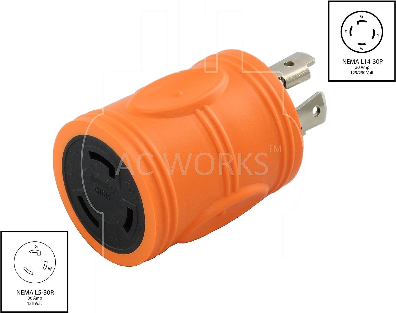 Compact Generator Adapter NEMA L14-30P to NEMA L5-30R by AC WORKS®