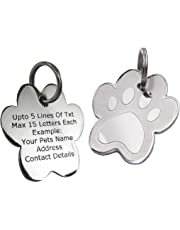 PawGear Pet ID Tags Personalised Engraved Polished Stainless Steel Paw Dog Cat (Medium/Large- One Side Engraved)