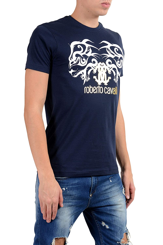 ROBERTO CAVALLI Mens Blue Graphic Crewneck T-Shirt Size US 2XL IT 56